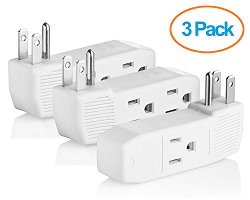 Vertical Adapter - Yubi Power Three Outlets Grounding Adapter Vertical Wall Tap Adapter Double Sided - ETL Listed - Three Pack