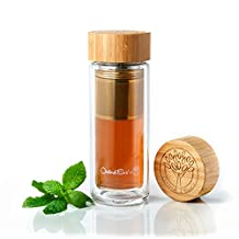 Tea Infuser Glass Tumbler by Oxford Eve's with Bamboo Lid, Quality Stainless Steel Loose Leaf Strainer, and Handy Neoprene Sleeve. Best Infuser for Fruit Infusion, Ice Tea or Green Tea! Replace Your Travel Mug or Water Bottle Today! by Oxford Eve's