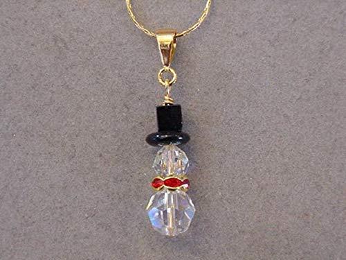 beb2436e535f8 Amazon.com: Gold Swarovski Crystal SNOWMAN NECKLACE Christmas ...