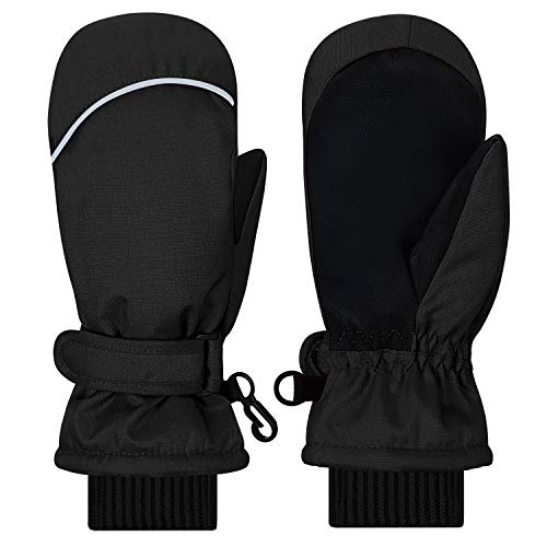 Kids Mittens Gloves, Gallop Chic Girls Boys Toddlers Winter Mitts, Children Thinsulate Lining Waterproof Winter Sports Safety Snow Ski Mittens (Black, 5 6 7 Y)