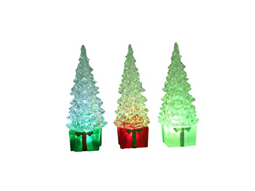Lightahead Christmas Tree, 15CM High with Square Base and Color Changing LED Lights, Ornaments Table Decoration Light Night Light (Set of 3)