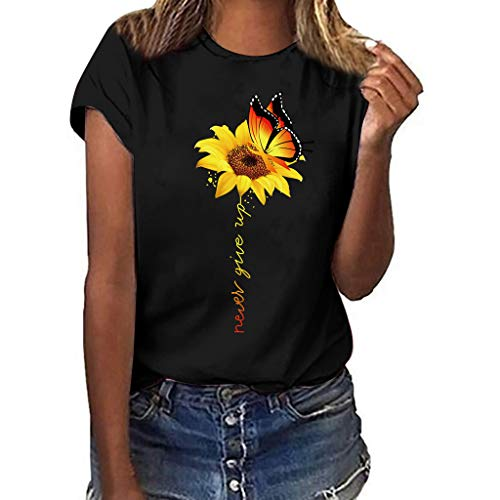 Women T-Shirt Casual Summer Short Sleeve Tee Sunflower Print Loose Fit Blouse Tops (M, Black)