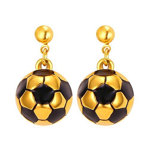 Fashion Women 18K Gold Plated Soccer Ball Earrings Drop D...