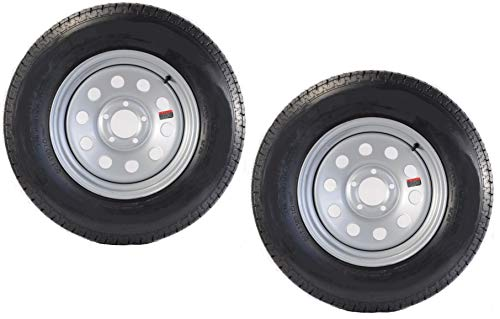 2-Pack Mounted Trailer Tire On Rim 205/75D-15 Modular Silver 5H Wheel 5 in.