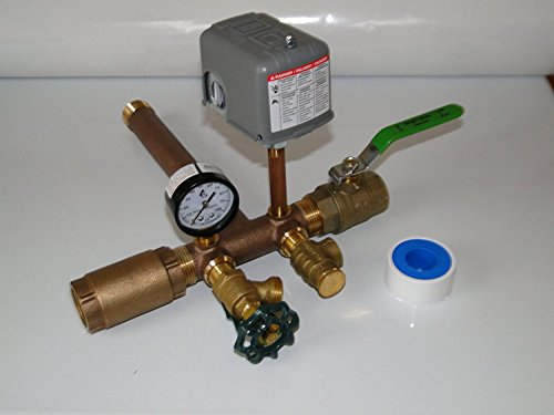 Harvard Boshart 1 x 11 BRASS Tank Tee Kit installation package with BALL VALVE and CHECK VALVE Water Well Pressure Tank SQUARE D 30 50 FSG2 pressure switch NO LEAD