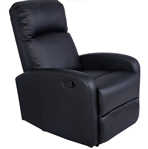 Brand New Costway Manual Recliner Chair Black Lounger Leather Sofa Seat Home Theater With A Durable Construction And Stylish Finish