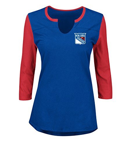 VF LSG NHL New York Rangers Glowing Passion 3/4 Sleeve Notch Neck Tee, Small, Deep Royal Athletic Red Deep Royal -