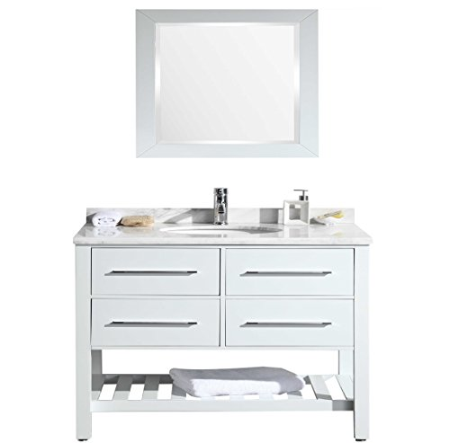 22 Carrera White Countertop - Eviva EVVN503-42WH Natalie F. Bathroom Vanity with Carrera Marble Counter-Top & Porcelain Sink Combination, 42