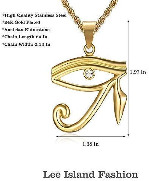 Lee Island Fashion 24K Gold Plated CZ Eye of Horus Egypt