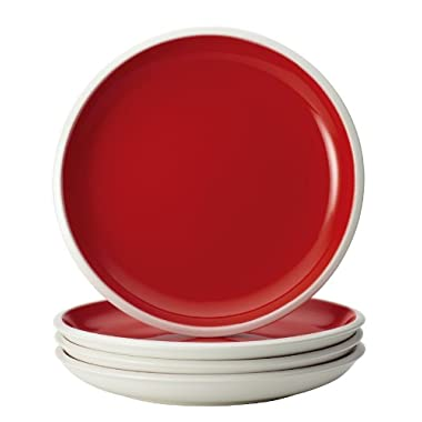 Rachael Ray Dinnerware Rise Collection 4-Piece Stoneware Salad Plate Set, Red