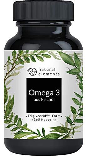 Omega 3 (365 Kapseln) - Einführungspreis - 1000mg Fischöl pro Kapsel mit EPA und DHA (in Triglycerid-Form) - Laborgeprüft, aufwendig aufgereinigt und aus nachhaltigem Fischfang