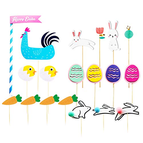 Toyvian 19pcs Happy Easter Cupcake Toppers Bunny Rabbit Chicken Egg Carrot Cake Toppers Cupcake Toothpicks for Easter Party Favor - Carrot Bunny Cake