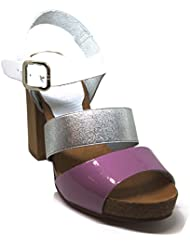 Pilar Monet - White, Silver and Lilac Ankle Strap Leather Women Sandals - Hand Made in Spain
