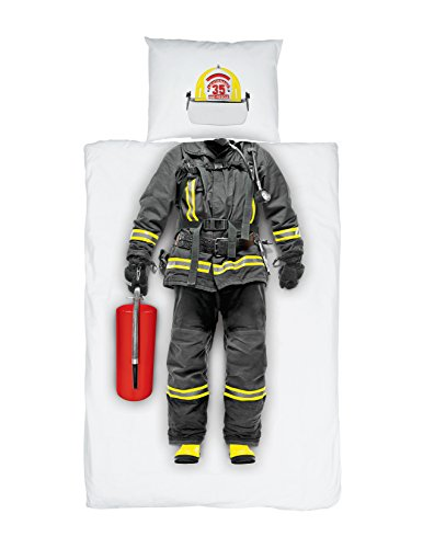 Cuddily Children's Firefighter Comforter Set for Kids - Size 68 in x 86 in - Ultra Soft Cotton - Unique - Realistic - Luxury Bedding - Hero by Cuddily