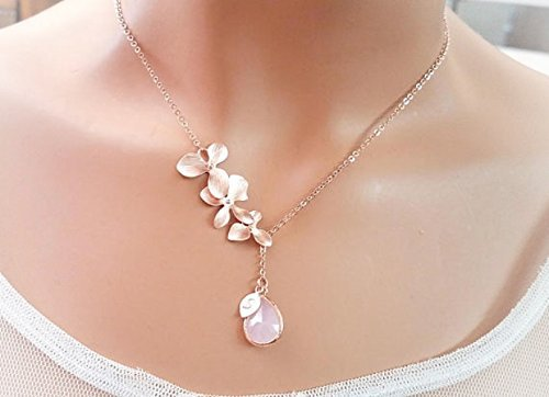 Blush Pink ROSE GOLD Necklace, Orchid Necklace, Flower, Personalized necklace, Clear, Champagne, Peach, Sapphire Navy, Bridesmaids Gift
