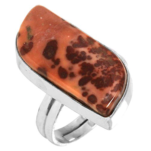 Natural Coffee Bean Jasper Gemstone Collectible Jewelry Solid 925 Sterling Silver Adjustable Ring Size - Silver Jasper Adjustable Sterling Ring