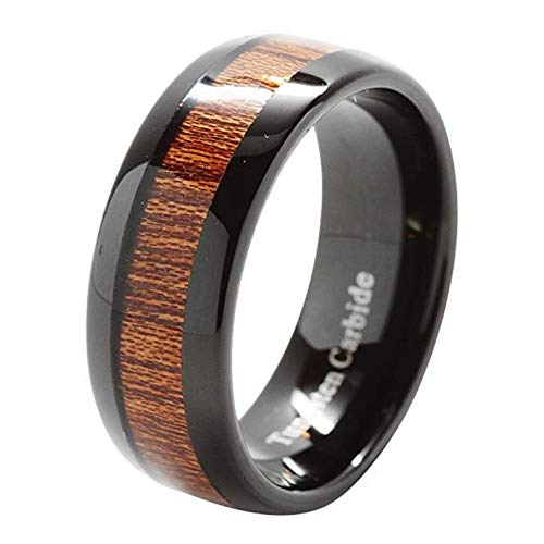 ELGNT Designs 8mm Black Koa Wood Gloss Tungsten Mens Wedding Ring Band | Mens Wedding Band | Engagement Ring | Promise Ring | Size -