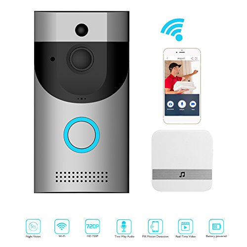 Awakingdemi Video Doorbell, Smart Doorbell 720P HD WiFi Security Camera with Chime, Real-Time Two-Way Talk and Video, Night Vision, PIR Motion Detection and App Control for iOS, Android and Coogle