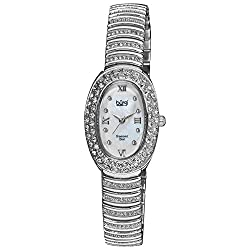 Women's Oval Watch with Diamond Hour Marker