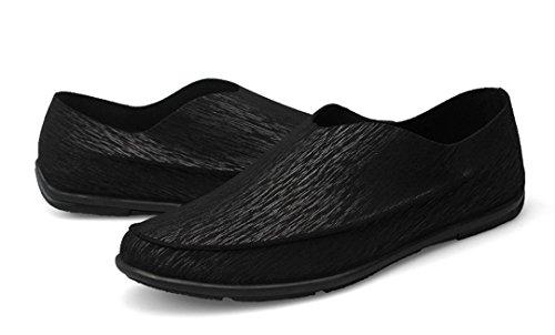 Tda Heren Casual Comfortabele Slip Op Lederen Instappers Jurk Zakelijke Mocccasin Bootschoenen Zwart