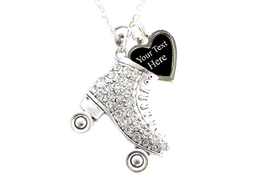 Holly Road Roller Skate Crystal Silver Necklace Jewelry Choose Your Text]()