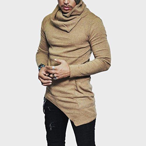 Turtleneck Musculaire Jaune Longue shirt Slim Pour Tee Fit Des Décontracté Manche T Tefamore Hommes RW6pf1Fqq