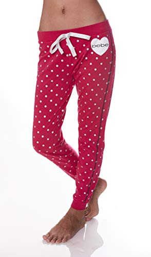 bebe Womens Elastic Waist Banded Ankle Pajama Lounge Sweatpants Bright Rose Small -