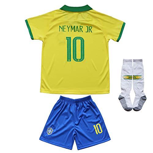 2019 Copa Soccer Team America Argentina Brazil Messi Neymar Kids Jersey Shorts (Brazil - Neymar JR, 8-9 Years Old)