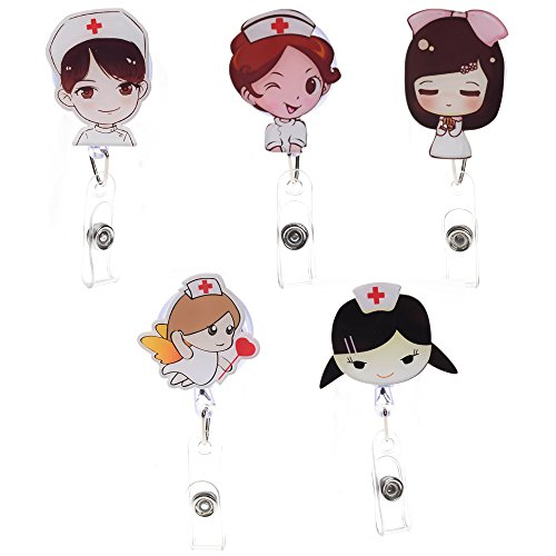 5pcs Small Cute Cartoon Retractable Badge Reel Holder with Alligator Clip for Doctor Nurse Intern ID Name Card, 21.7 inch Scalable Cord