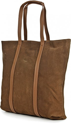 BECKSÖNDERGAARD, borse da donna, shopper, XXL-shopper, tote bag, borse, camoscio, cognac, 43 x 42,5 x 3,5 cm (L x A x P)