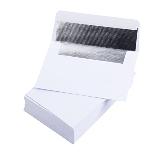 A1 Silver Luxury Embossed Foil Lined Envelopes - 50-Pack Square Flap Invitation Envelopes for Announcements, for Wedding RSVP, Graduation, Birthday, 120gsm Paper, 3 5/8 x 5 1/8 inches, White