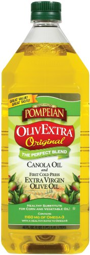 Pompeian OlivExtra Plus Blend - Extra Virgin Olive Oil and Canola Oil, 48-Ounce Bottles (Pack of 2)