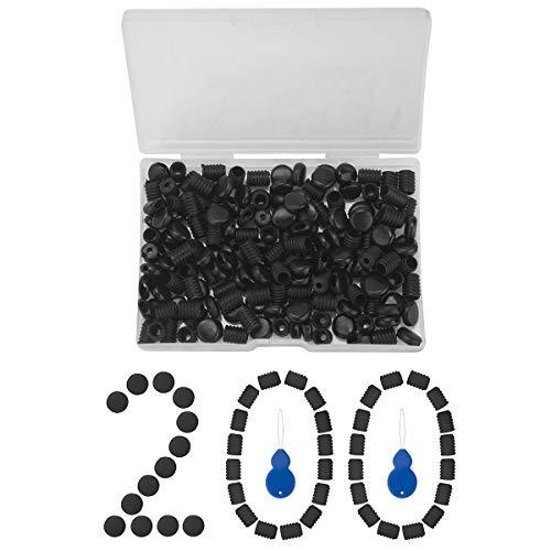 200pcs Cord Locks Black Soft Silicone Elastic Mask Adjustment Buckle Adult Children Elastic Adjustment Accessories Free Plastic Hoist Copper Wire Needle Threader (Black)