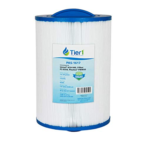 Tier1 Replacement for Waterways 817-0050, Front Access Skimmer, Pleatco PWW50, Filbur FC-0359, Unicel 6CH-940 Spa Filter - Skimmer Access Spa Front
