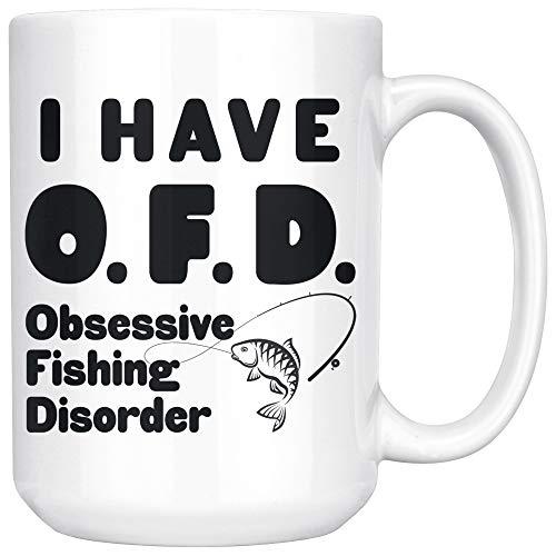 ArtsyMod OFD OBSESSIVE FISHING DISORDER Premium Coffee Mug, Perfect Funny Gift For Men, Women, Fisherman & Fishing Lover! Durable White Ceramic Mug (15oz.) ()