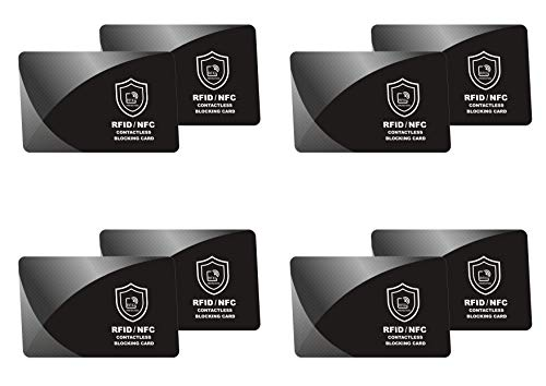 RFID Blocking Card   NFC Contactless Cards Protection   1 Card Protects Your Entire Wallet   No More Need for Single Sleeves   Credit Card Holder, Wallets or Passport, Men, Woman - 4 Packs / 8 Cards (Best Credit Card Offers For No Credit)