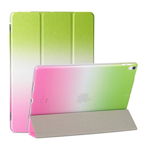(2017 New iPad 9.7 Case, Rainbow PU Leather, SOUNDMAE PC Combo Flip Case, [Auto Sleep/Wake Function] Magnetic Adsorption Kickstand Folio Cover for Apple 2017 New iPad 9.7 Case [Green Rose])