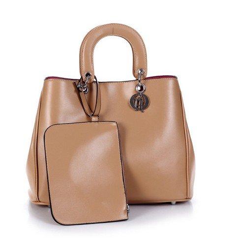 Ecosusi Women Fashion Leather Tote Handbag Medium Shoulder Bag (Khaki)