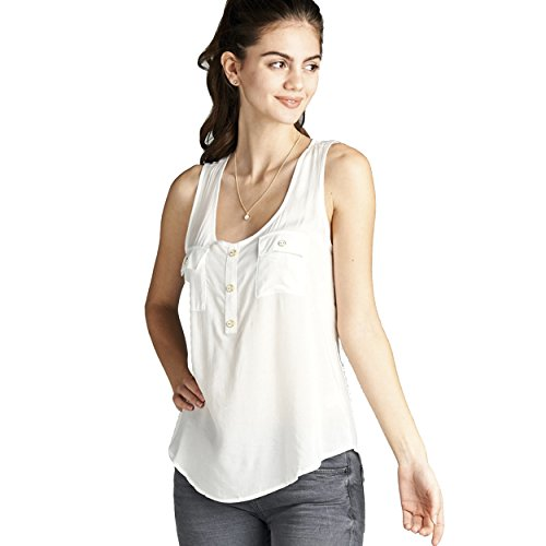 Active USA Women's Woven Tank Top Front Double Pockets Button Detail - Usa Be Active