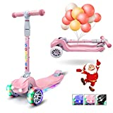 XJD Kick Scooter for Kids 3 Wheel Scooter for Toddlers Girls Boys Toddler Scooter 4 Adjustable Height Lean to Steer with PU Flashing Wheels for Children from 3 to 12 Years Old, Pink
