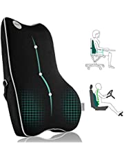 Lumbar Support Pillow,Pure Memory Foam Back Cushion Orthopedic Backrest with Breathable 3D Mesh for Car Seat,Office Chair,Computer Chair,Wheelchair and Recliner.Ergonomic Design for Back Pain Relief
