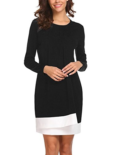 SE MIU Flowy Two Layer Long Sleeve Winter Business Elegant Casual Dress, Black, - Miu Miu 2