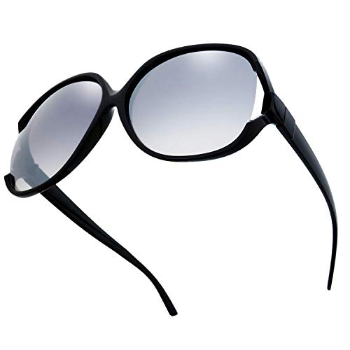 The Fresh New Women's Vintage Style Jackie O Frame Ocean Colored Lens Sunglasses (12-Black, Grey ()