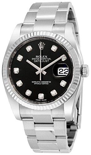 Rolex Datejust Black Dial 18kt White Gold Bezel Automatic Stainless Steel Ladies Watch 116234BKDO