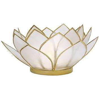 Om gallery capiz shell lotus tea light holder passion home kitchen - Capiz shell tealight holder ...