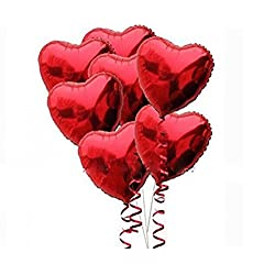 Red Heart Foil Helium Balloons, 10 Pcs