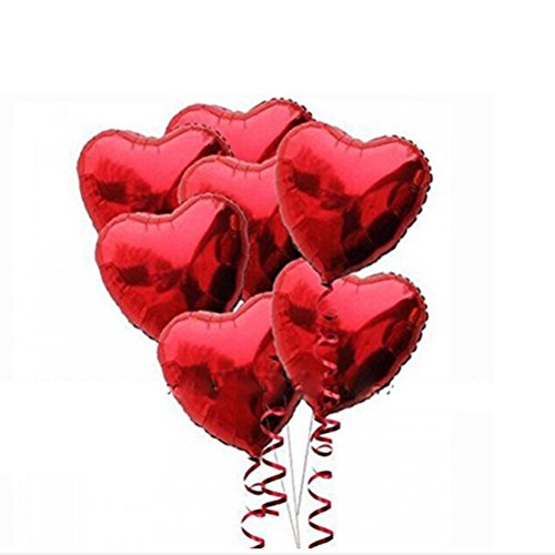 Pixnor 10pcs Red Heart Foil Helium Balloons for Birthday Wedding Engagement Decoration ()
