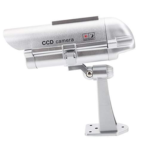 C/ámara simulada de Seguridad con energ/ía Solar con Linterna Sensor Humano C/ámara de simulaci/ón de vigilancia Falsa A-41 Plateado