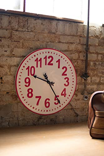 Kalalou CVY1139 Round ENAMELWARE RED and White Clock