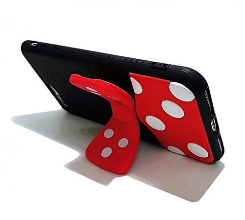 Mickey Mouse Soft Silicone Case with Kickstand for iPhone 7 Plus / 8 Plus 7+ 8+ 7Plus 8Plus Large Size Disney Cartoon Black Red Color Polka Dots Protective Cute Lovely Gift Kids Boys Girls Little Teen